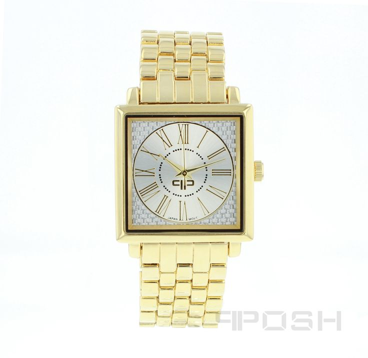 Edward - Watch - Gold Tone.  - Classic square face design - Plated in gorgeous gold tone - Face features exclusive POSH design - Bracelet and full casing made in stainless steel - Water resistant up to 5 ATM - Extra links available - Japanese movement  Dimensions Face: 35mm diameter   POSH by FERI - Passion for Fashion - Luxury fashion jewelry for the designer in you.  #Jewellery   #watches