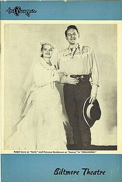 "Theatre Programme from the Return Los Angeles Production of the Richard Rodgers / Oscar Hammerstein II musical ""Oklahoma!"" which performed from January 18 thru February 7, 1953 at the Biltmore Theatre. (demolished in 1964, this theatre was located at 520 West Fifth Street)."