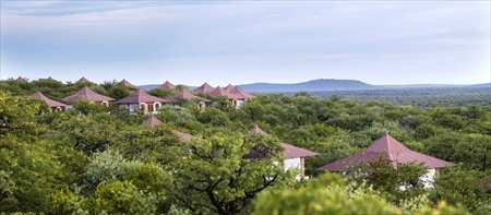 The guest bungalows of the Etosha Safari Lodge are nestled between the trees.