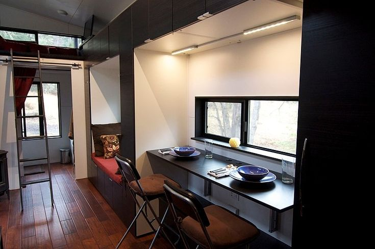 Small Home by Andrew & Gabriella Morrison. Tiny 221 square feet house on wheels designed by Andrew & Gabriella Morrison of TinyHouseBuild. #SmallHome | #AndrewMorrison | #GabriellaMorrison |