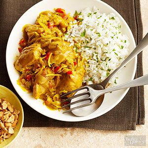 A jalapeno provides the heat in this flavorful chicken main dish. The robust flavor of curry is enhanced by the sweet, chewy raisins and aromatic garlic.