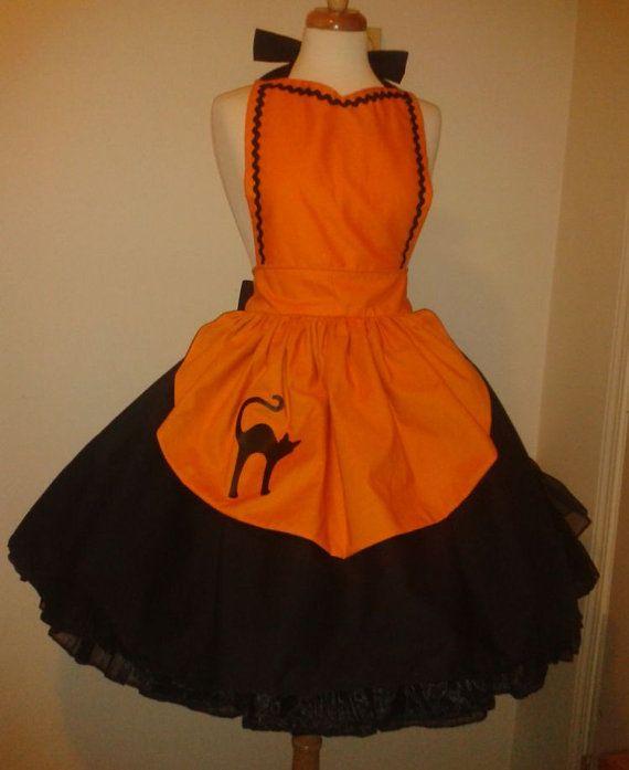 Cute Witch Apron Orange Black Cat Halloween Costume Womens Apron Large Xlarge