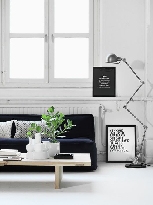 ♡ black and white interiors - couch, lamp, art, windows.... yum.