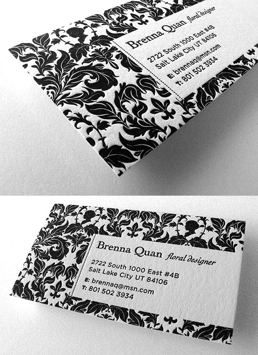 Beautiful Floral Patterned Letterpress Business Card For A Florist