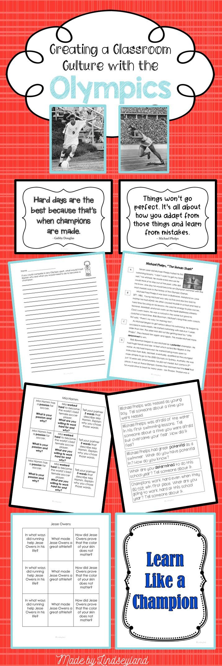 """Olympic Summer Games of 2016 are the perfect springboard for building classroom culture. This unit contains complete lesson plans for studying the Olympics and famous athletes as a model for learning with grit and passion. Designed around 7 informational articles that will spur on discussions as to how your students can """"Learn Like a Champion"""". Made by Lindseyland Learning."""