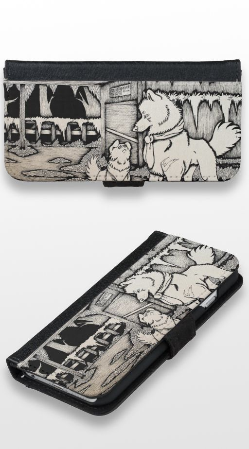 """""""In Early December"""" Black and white illustrated cute wolf and dog couple Wallet Case"""