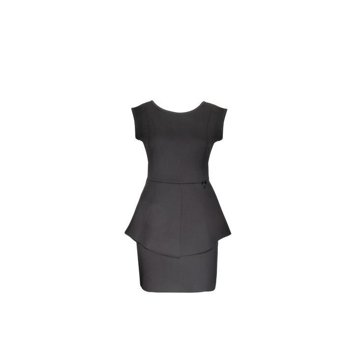 Naughty Dog #FW1415 black skuba #dress with squared neckline and peplum effect on the waist.