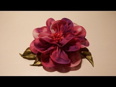How to make fabric flowers:Flower made of chiffon tutorial/Цветы из ткани:цветок из шифона - YouTube