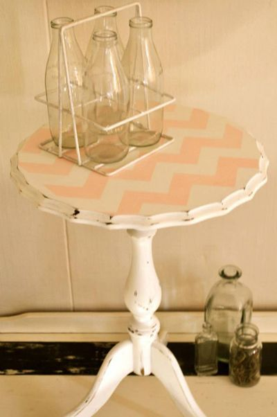 Paint a table using the Chevron Craft Stencil in a soft pink color to get this look! http://www.cuttingedgestencils.com/chevron-stencil-templates-stencils.html