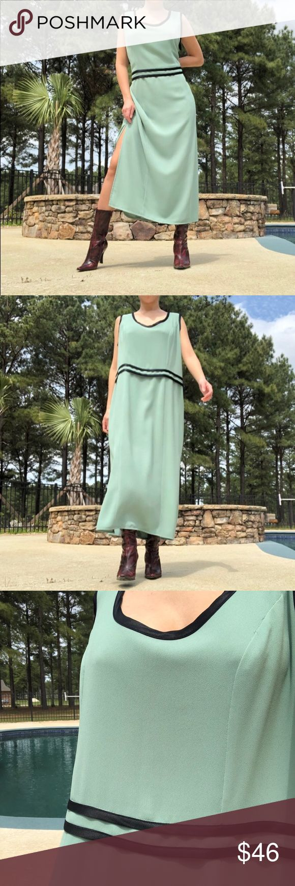 """VINTAGE FLOWY SAGE GREEN MAXI DRESS This reminds me of Escada. Simple and clean lines..just spice it up with a chunky neckpiece or cinched it with a belt and wear your hair up sleek with some dewy make up or just your natural beautiful face. Ugh! So runway look!👏🏻 Model is 5'3 1/2"""" and a size small🌈Size - Tag says 14 fits like M-L Color may vary depending on the light setting of your phone🤗PLEASE DON'T HESITATE to ask.Please check out my other listings.☝🏻Not responsible after shipping. 💞So"""