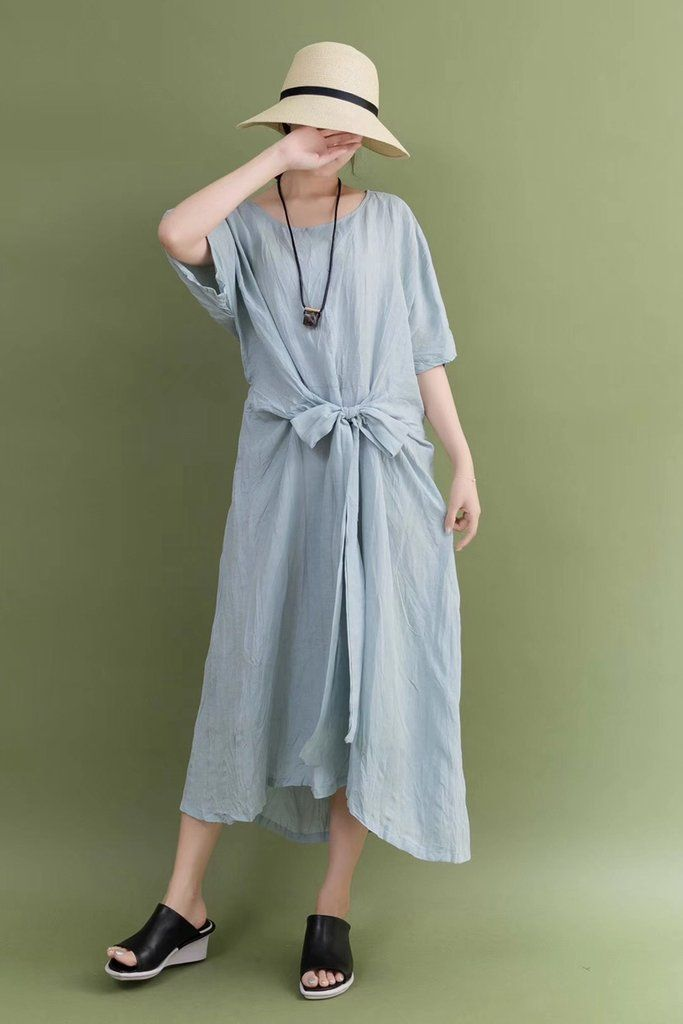 eff8b7e582ab Summer Linen Blue Bow Waist Plus Size Casual Loose Fitting Long Maxi Dresses  For Women