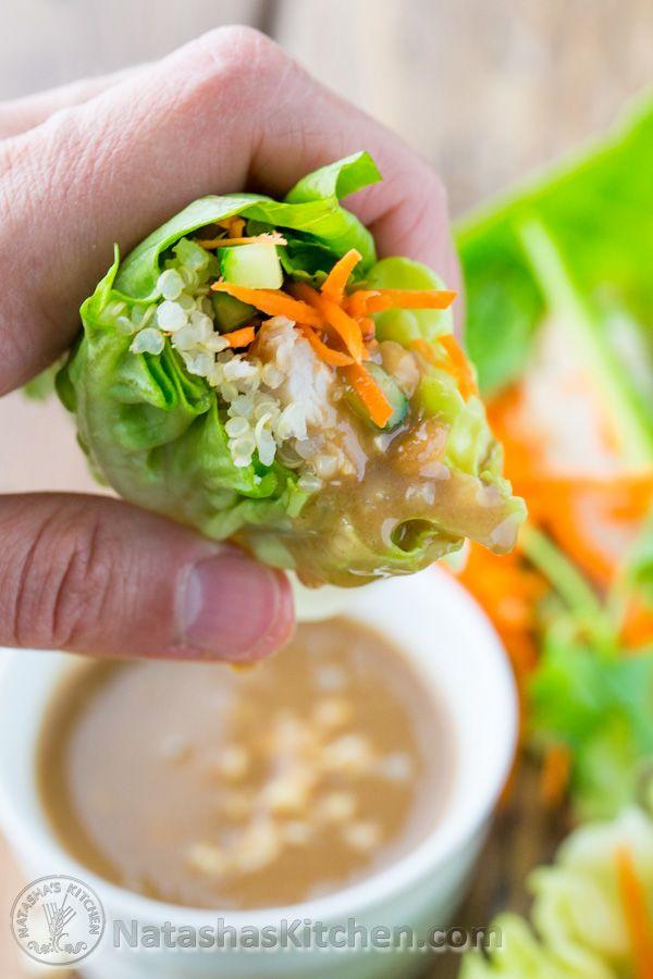 Quinoa Chicken Lettuce Wraps by natashaskitchen #Lettuce_Wraps #Quinoa #Chicken #GF #Light #Healthy