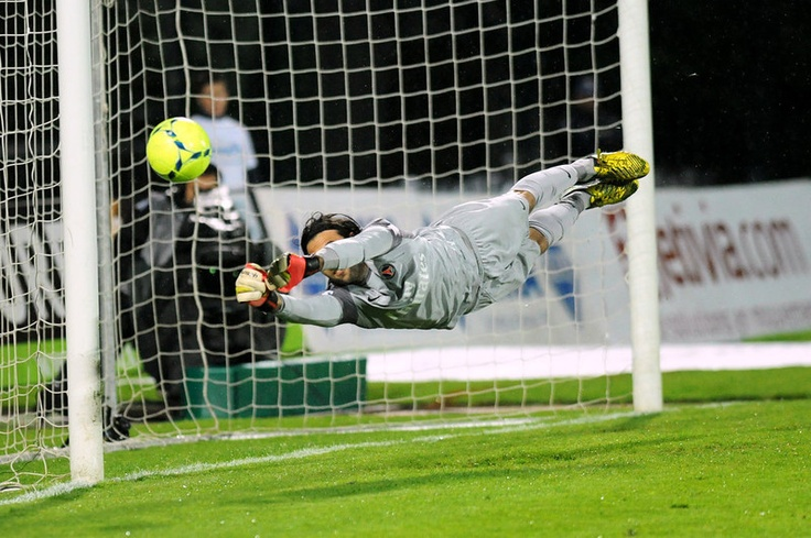 Paris Saint-Germains Italian goalkeeper Salvatore Sirigu jumps for the ball during the French L1 football match Evian (ETGFC) vs Paris Saint-Germain (PSG) on April 28, 2013 at the Parc des Sports stadium in Annecy, eastern France. JEAN-PIERRE CLATOT/AFP/Getty Images