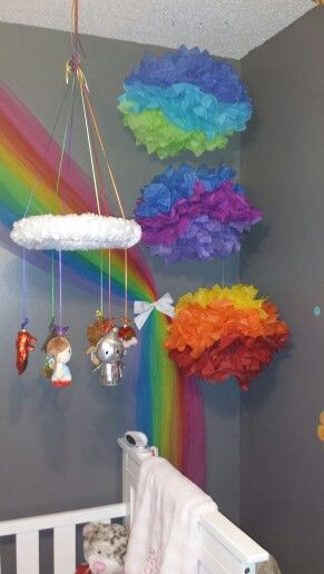 Mallory's Somewhere Over the Rainbow Nursery. Wizard of Oz. DIY. Mobile made with Itty Bitties fro Hallmark, hot glue, fabric and pins.