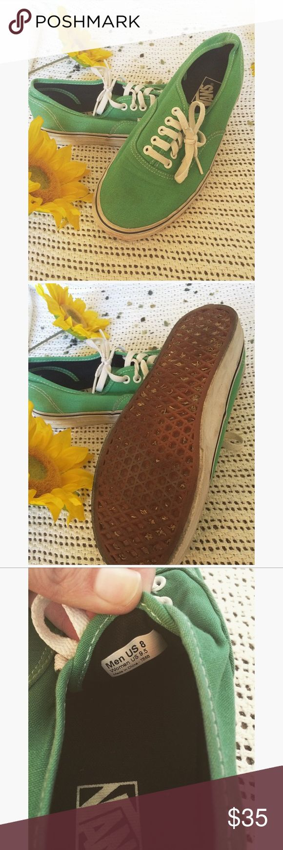 🌻 green vans, for men or women🌻 🌻 these vans are unisex. Barely even worn as you can see in the second picture . Cool green color, in great condition. Size 9.5 in women's, and 8 in men🌻 Vans Shoes Sneakers