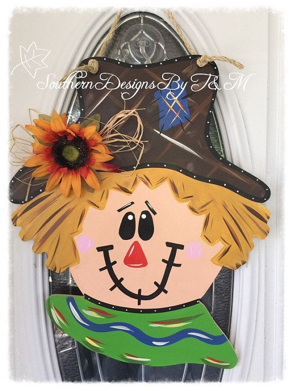 Scarecrow door hanger fall door hanger fall by SouthernDesignsByTM