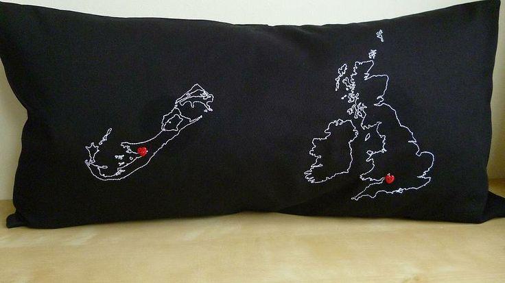 2 Countries Map Cushion Cover