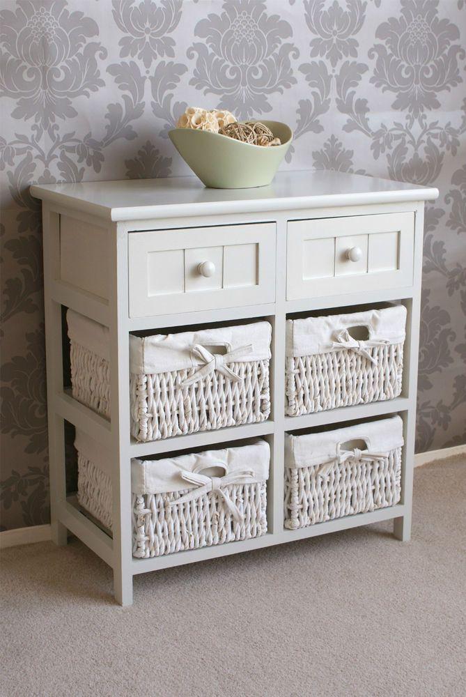 oak storage cabinet with wicker baskets 2