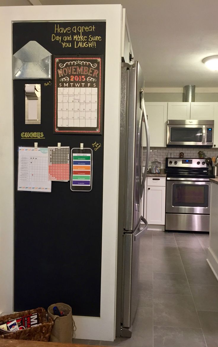 Maximize your space with a refrigerator surround that boosts storage and provides your kitchen with a command center. It's easily constructed using craftsman style moulding materials.