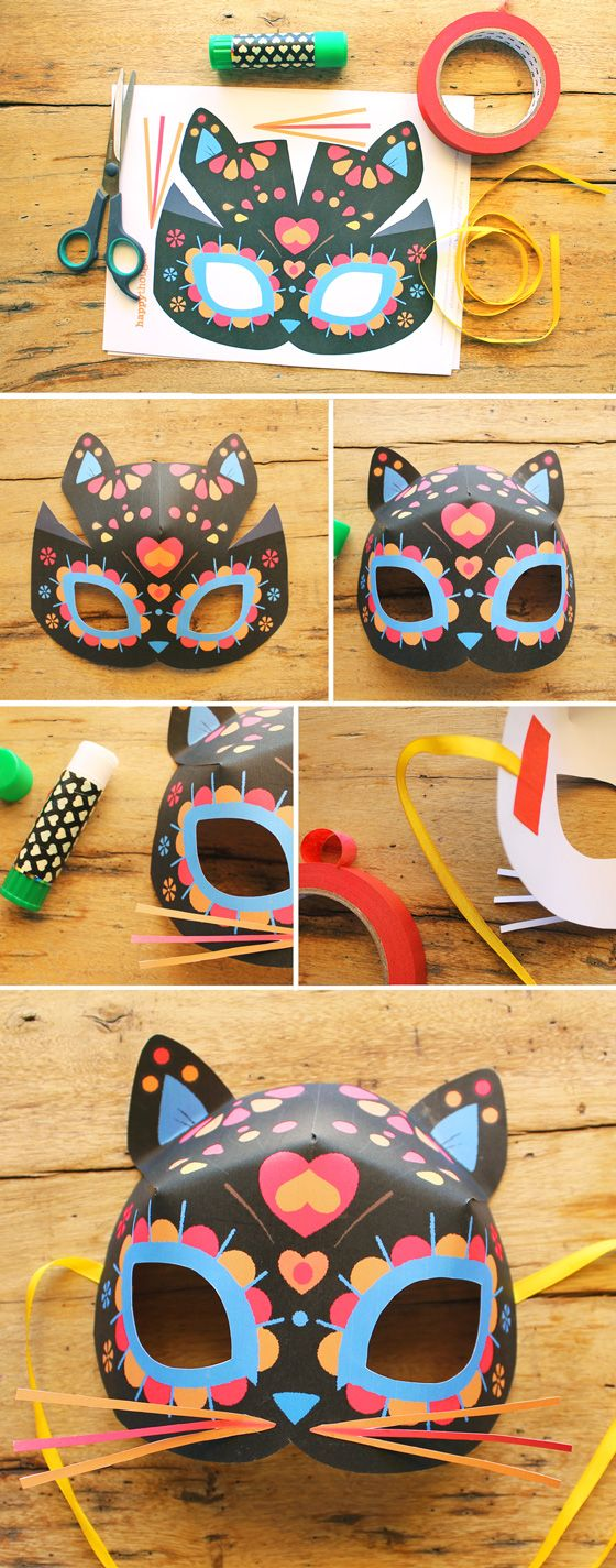 How to make Day of the Dead or Dia de los Muertos calavera cat masks! #templates #calavera https://happythought.co.uk/day-of-the-dead/cat-mask-template                                                                                                                                                                                 More