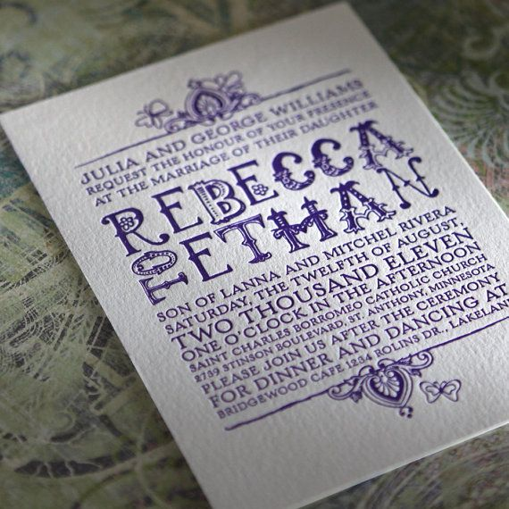 Bohemian Letterpressed Wedding Suite by BellaBaroqueDesign on Etsy, $11.00