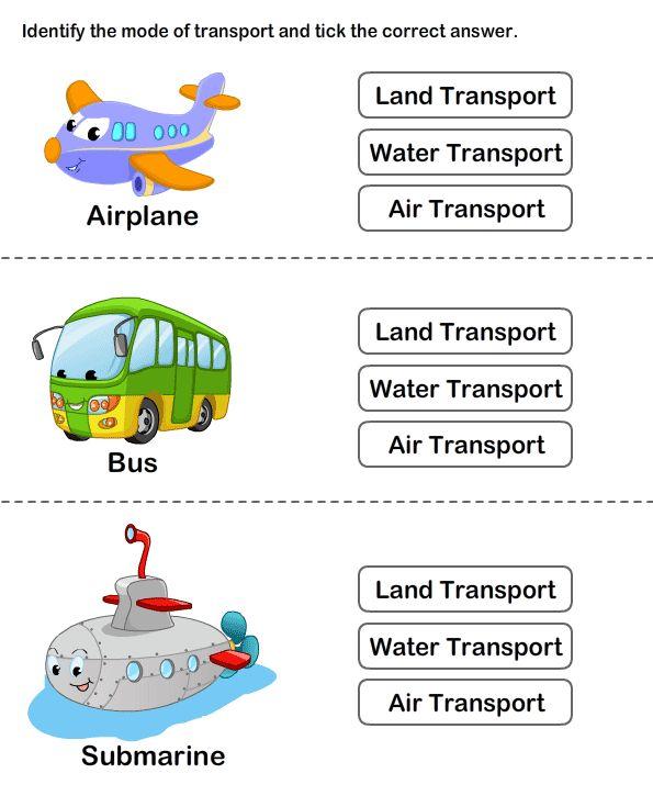 Teach Transportation to Preschoolers   Online Worksheets for Kids ...