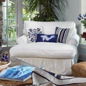 ... Arm And White Slipcover Plus Fish Patterned Cushion Plus Rustic Wooden  Coffee Table. Adorable Oversized Chaise Lounge Chair For Large Living Room  Space. Part 74