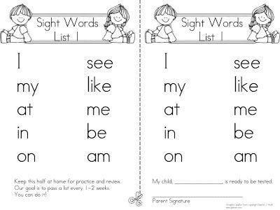 A Teeny Tiny Teacher: Sight Words Take Home Program
