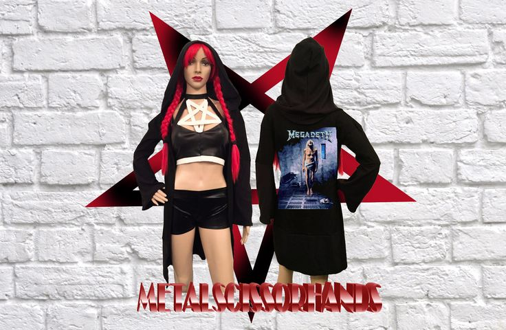 Megadeth Countdown To Extinction Cardigan Long Bell flared Sleeves Handmade Gothic Reaper Witch robe tunica cloak by MetalScissorhands on Etsy