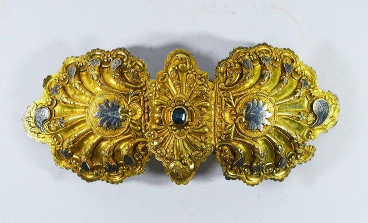 ANTIQUE OTTOMAN SILVER GILT AND NIELLO. Early 18th Century Ottoman silver gilt and niello belt buckle. 25x11.5 CM. 18th Century. BELT BUCKLE. | eBay!
