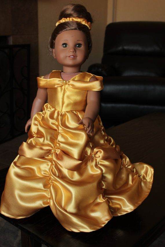 American Girl Doll  Golden Gown Inspired by Belle by CaitsBoutique, $23.00