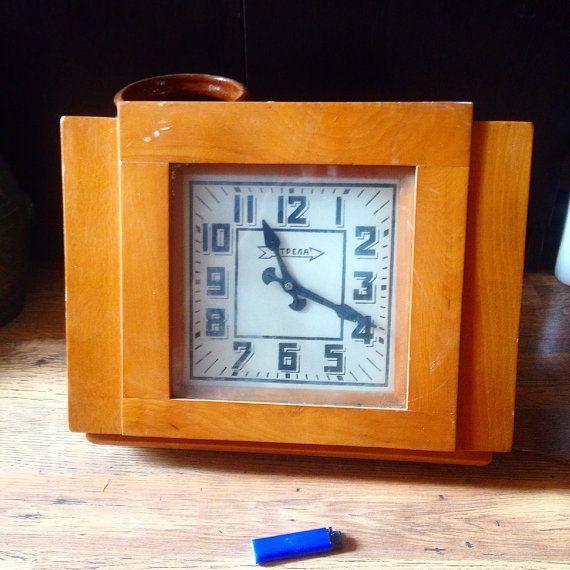 Vintage Soviet Square Wooden Industrial Clock by SovietHardware