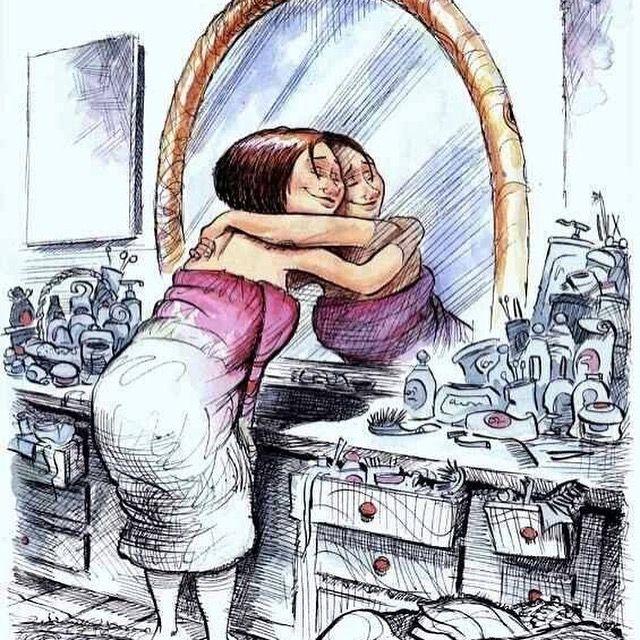 Ze ontdekt in de spiegel haar beste vriendin en is zuinig op haar.
