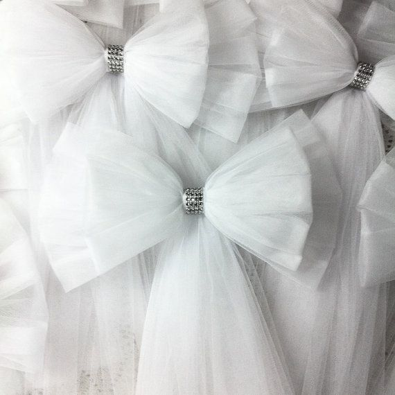 Tulle Pew Bow OVER 20 COLORS Tulle Church Pew Decor by OneFunDay