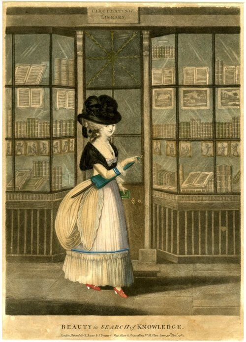 Beauty in search of knowledge, 1782. This 18th century woman carries an early version of an umbrella. These models were heavy and cumbersome. Image @Harry Elkins Widener Collection, Harvard College