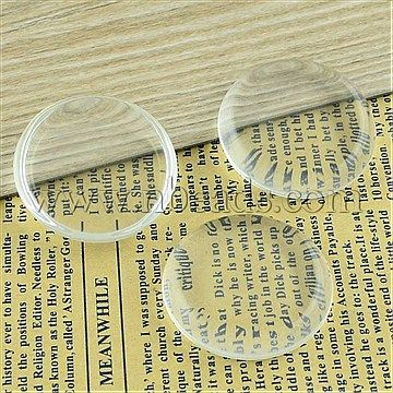 Transparent Glass Cabochons, Flat Round, Clear, 45x10.3mm<br/>Priced per 2 pcs