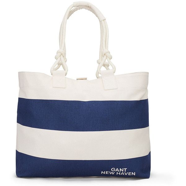 Gant Striped Canvas Tote Bag - Persian Blue ($101) ❤ liked on Polyvore featuring bags, handbags, tote bags, blue, white tote, striped beach tote, canvas tote, canvas beach tote bag and handbags totes