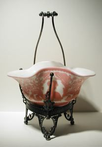 """Currier Collections Online - """"Bride's Basket or Berry Bowl in Stand"""" by Mount Washington Glass Company"""