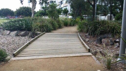 Northshore Hamilton, Brisbane. Bridge over dry river bed