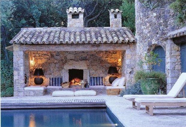 Pool. Backyard bliss - outdoor fireplace