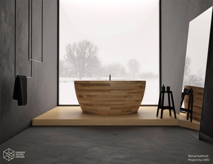 Unique Wood Design, Wooden bathtub Munai. Ash wood.
