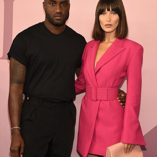 @off white's @virgilabloh and @bellahadid showing off some faux fringe at tonight's @cfda awards. Link in bio for more from red carpet. #stylish #swag #model #outfit #jewelry