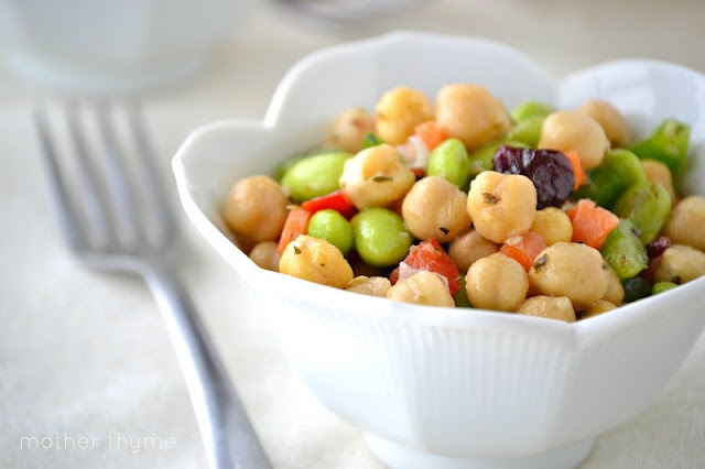 Mother Thyme: Chickpea and Edamame SaladSummer Picnic, Side Dishes, Recipe, Food, Chickpeas Salad, Beans Salad, Mothers Thyme, Edamame Salad, Salad Mothers
