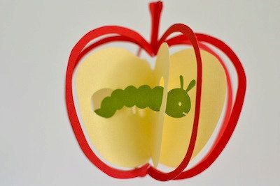 Apple and Caterpillar Mobile - for children, boy, girl, kids room decor - red & green - gift - home - toy -baby. ¥2,500, via Etsy.
