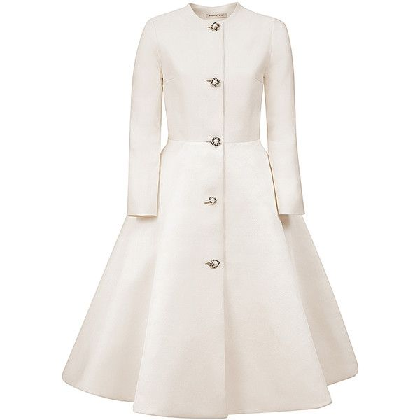 Esme Vie     Flower Pearl Silk Coat found on Polyvore featuring outerwear, coats, jackets, esme vie, white, silk coat, flower coat, long sleeve coat, trapeze coat and white coat