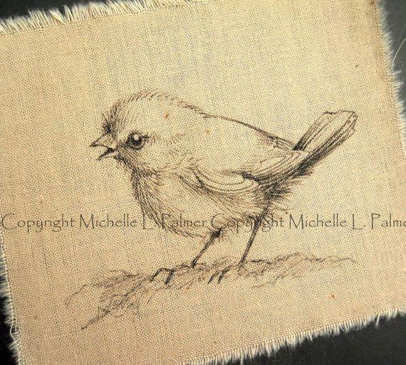 Baby Bird Sparrow Original Pen Ink Fabric Illustration Quilt Label by Michelle Palmer