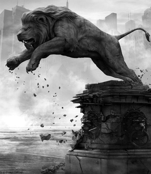 The wiz had the lion come out of a stone statue at the library. I like the concept of the lion having the ability to shift into stone.
