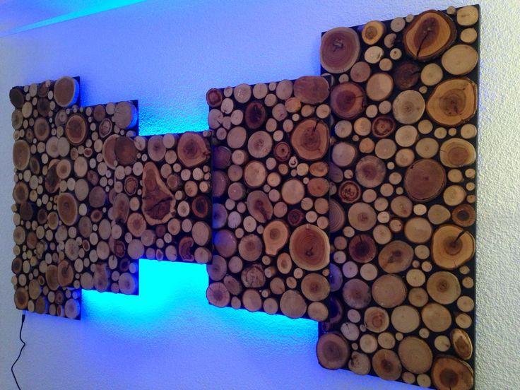 Holzbild mit Holzscheiben auf 3 Ebenen, Bild mit LED Band