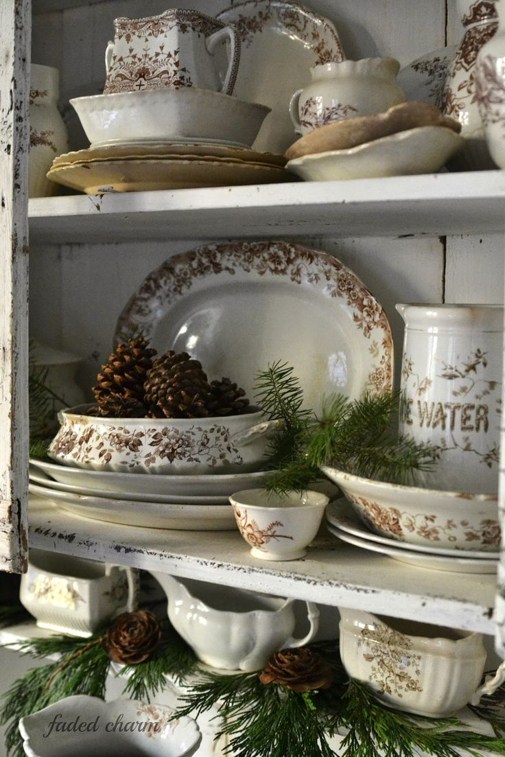 Faded Charm: ~Primitive Cupboard & Pinecones~