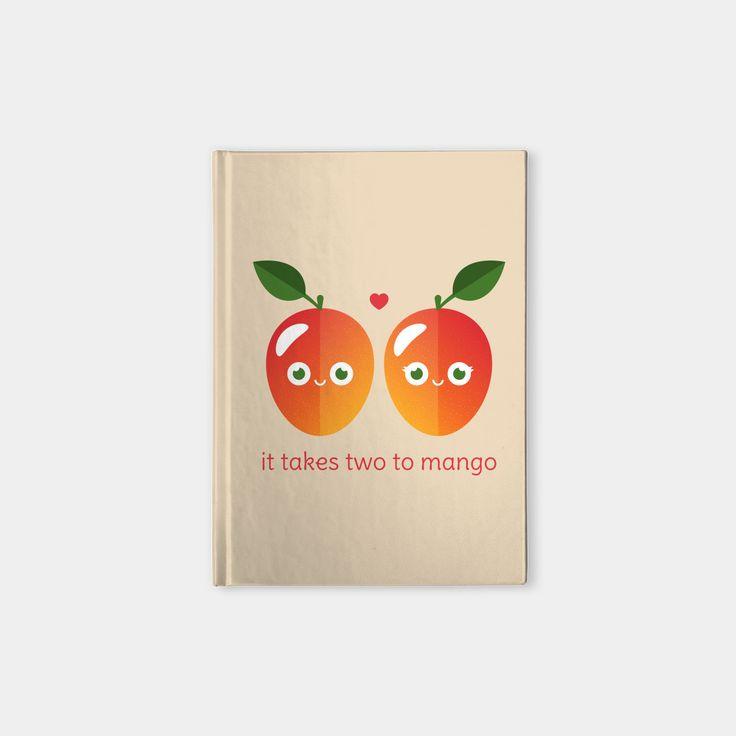 It Takes Two to Mango hardcover notebook by Slugbunny - pun, puns, mango, mangos, tango, dance, fruit, food, funny, cute, love, relationship, tasteful, tasty, relationships, valentine, valentines, vector, art, illustration, drawing, design